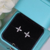 Luxury Victoria Brand Designer S925 Sterling Silver Crystal Charm Four Leaf Clover Flower Earrings For Women Jewelry