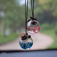 Car Air Freshener 2pcs set Hanging Pendant Empty Glass Perfume Bottle Suspension Ornaments For Essential Oils Without