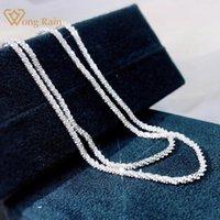 Wong Chuva 925 Sterling Prata Criado Moissanite Moda Luxo Branco Ouro Unisex Casal Chain Colar Fine Jóias Atacado Correntes
