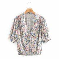 Blouses Femmes Chemises Psseewe 2021 Femmes Vintage manches bouffées Bouton de revers Chemisier recadré floral imprimé décontracté V-cou à manches courtes en vrac