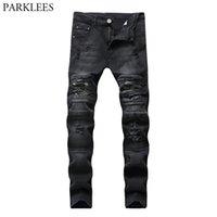 Black Flyny Ripped Biker Jeans Hombres Lavado Casual Algodón Slim Fit Agujero Destruido Pantalones Hombre Hip Hop Daño Homme