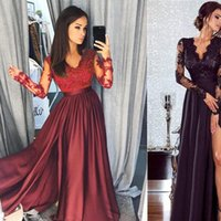 Lace Long Sleeve V Neck Womens Dresses Evening Party Ball Prom Gown Formal High Waist Maxi