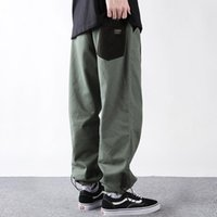Men's Pants Colorblock Pocket Cargo Men American Casual Lazy Baggy Cropped Mens Work Ninth-pants Ankle-Length Trousers