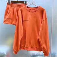 Solid Round Neck Pullovers Sweatshirts and Short Two Pieces Sets Women Autumn Suits Clothing