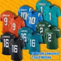"2 Zach Wilson 16 Trevor Lawrence Jersey 10 Justin Herbert 1 Tua Tagovailoa 9 Joe Burrow Jerseys Jaguar ""Charger"" Bengals ""Jets"" Dauphins ""Football"