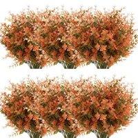 장식 꽃 화환 24 번들 인공 가을 회양목 없음 페이드 가짜 가을 식물, 실내 야외 녹지 추수 감사절 결혼식