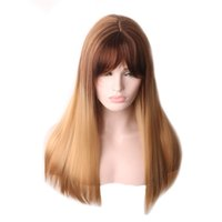 WoodFestival straight ombre blonde wig long synthetic wigs bangs women soft fiber hair for white female heat resistant full party