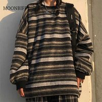 Unisex Women Striped Knit Sweater Spring Autumn Retro Hip Hop Pullovers Tops Female Oversize Ulzzang BF Couples Japanese 211022