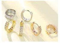 Classic Copper Metal Huggies Small Dangle Earrings Female Gold Thin Circle CZ Hoop Earring Charm Hoops 12mm Wedding Jewelry Oorbellen