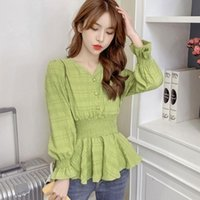 #1918 Green White Yellow Slim Casual Blouse Women V Neck Spring 2021 Ruffles Cute Korean Style Sexy Basic Elastic Waisted Women's Blouses &