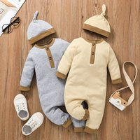 Baby Bebe Jumpsuits with Hat Fall 2021 Kids Boutique Clothing 0-18m Newborn Infant Toddlers Cotton Long Sleeves Bodysuits Crawl Clothes
