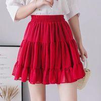 Plus Size Boho Summer Womens Skirt Pleated Mini High Waist Sexy Chiffon Pink Red Black White Blue M 6xl 7xl