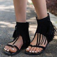 Sandals Summer Women's Suede Open Toe Zipper Flat Non-Slip Tassel Beach Shoes Ladies Casual 2021