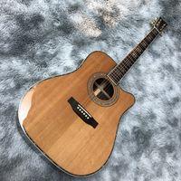 Katı Ahşap Cilalı D45 Köşesiz Model Halk Elektrik Akustik Gitar
