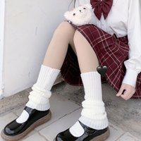 Calcetines japoneses lolita dulce niña calentadores de lana bola de punto cubierta de pie mujer otoño invierno pierna calentador calentador