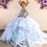 2021 Light Blue Quinceanera Dresses Jewel Neck Crystal Beading Ball Gown Long Sleeves Ruffles Tiered Sweet 16 Corset Back Party Prom Evening Gowns