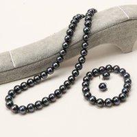 Neue feine echte Perlenschmucksache Set natürlich 8mm schwarze Perle Halskette Armband Ohrring Set 258 W2