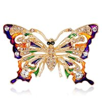 Pins, Brooches Gold Plated Alloy Rhinestone Butterfly Brooch Pin Enamel Retro-brooch Winter Coat Accessories Wholesale.
