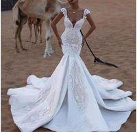 2021 Luxury Sexy Mermaid Wedding Dresses Bride Gowns Saudi Arabia Deep V Neck Cap Sleves Illusion Lace Crystal Beads Plus Size Trumpet Vestidos de novia Backless