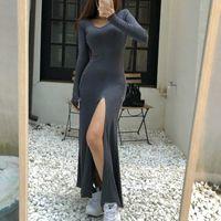 WOMENGAGA Korean Women's Long Sleeve V-neck Sexy Maxi Bodycon Elegant Dress Fashion Temperament Dresses Slim Bottom K8 210603