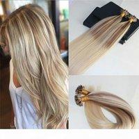 Дважды нарисованные Omber # 10 Увядание на # 613 Blonde U-Tip Предоставленные наращивания человеческих волос Slik Прямые 100% Rem My Nail Keratin Extensions