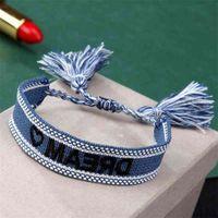 Bracelets Fashion Bracelet Embroidered Letter Braided Tassel d Home Wrist Band Bohemian Women's Ribbon Jewelry Q0rx
