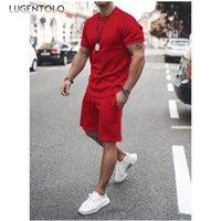 Men's Tracksuits Men Casual Set Summer Short Sleeve Round Neck Solid T-shirt Tops Pocket Elastic Waist Shorts Sports Street Thin Sets