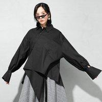 Женские блузки Рубашки LISCN Женщины Белый Черный Нерегулярный Большой Размер Блуза Отворачивается С Длинным Рукавом Свободная подходящая Рубашка Мода Прилив Весна Осень 2021