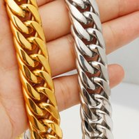 Heavy Huge 9 11 13 16 20 22mm Silver Gold Cuban Curb Link Chain Stainless Steel Necklace Bracelet Biker Mens Women Gift 7-40inch Chains