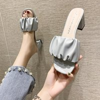Slippers Shoes Woman 2021 Female Square Toe Luxury Slides Rubber Flip Flops Heeled Mules Lady Designer Hawaiian High Girl Bl