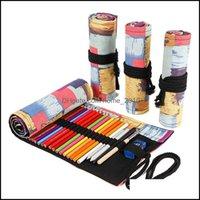 Pencil Bags Office Business & Industrialpencil Cases 12 24 36 48 72 Holes Case Kawaii Colorf Canvas School Pen Bag Curtain Roll Penal Large