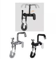 European-style Mop Pool Hot And Cold Water Brass Faucet Kitchen Sink Double Hole Mixing Valve With Spray Gun 360° Rotation Tap