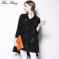 Women's Blouses & Shirts Long And Tunic For Womens Spring Three Quarter Sleeve Loose Oversized Plus Size Blouse Black Irregular Ladies Tops