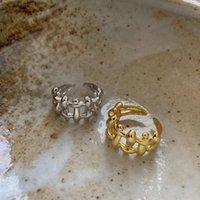 Silvology 925 Sterling Silver Silver Anneaux irréguliers Staggered Bump Tooth Openwork Japon Corée Grand pour femmes Bijoux à la mode AK79