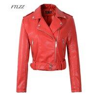 Women's leather Ftlzz Women Faux Soft Leather Short jacket Sound stud Epaulet Rits Pu Motorbikes Basic jackets Red Black Overwear with belt 0902