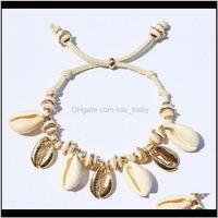 Bilezikler JewelryFashion Shell El Deri Bilezik Seashell Boncuklu Strand Ayarlanabilir Hediyeler Boho VSCO Kızlar Takı Boncuklu, Strands Bırak Del