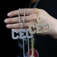 Chains 2021 Hiphop Iced Out Custom Name Letter CEO Cubic Zircon Pendant Necklace For Men Boy Bling 5A CZ Tennis Chain Rope Jewelry