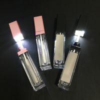 개인 레이블 화장품 메이크업 포장 컨테이너 도매 7ml LED 빈 입술 광택 튜브 검은 분홍색 광장 맑은 립 글로스 병 립스틱 병 거울