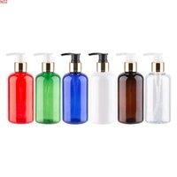 Золотой алюминиевый лосьон насос бутылка пластиковые косметические контейнеры для тела жидкое мыло 220cc многофункциональный PET 24PCSHIGH QIY
