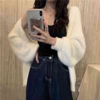 2020 Autumn And Winter New Mohair Loose Sweater Coat Women's Cardigan