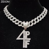 Pendant Necklaces Men Women Hip Hop 4PF Letter Necklace Miami Cuban Chain Iced Out Bling HipHop Fashion Charm Jewelry