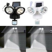 Lámparas solares 22 LED DUAL CABEZA JARDÍN LIGHT LIGHT LUZ EXTERIOR LUCES DE SEGURIDAD PIR MOVIMIENTO SENSOR DE MEDIÓN DE EMPRENO DE EMPRENO DE EMERGENCIA EUB