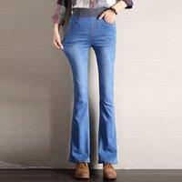 Súper elástico Cintura Jeans Flare Pantalones Mujeres Grande 26-34 Primavera Otoño Estiramiento Denim Vintage Pantalones de campana Mujeres