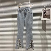DEAT Women Split Flare Jeans Solid Color High Waist Pearls Beading Decoration Pants Fashion Spring Summer 11B636 210709