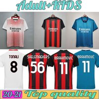 Vista fãs Versão Mandzukic AC Soccer Jerseys Milan Balr. 2021 Ibrahimovic Tonali? Alhanoglu Kessie Men Kid Kits Football Shirts