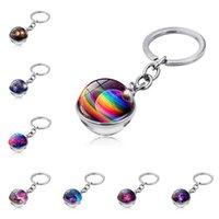 Keychains Llaveros Keychain Motorcycle Accessories Brelok Do Kluczy Samochodowych Glass Ball Portachiavi Auto Solar System Porte Cle