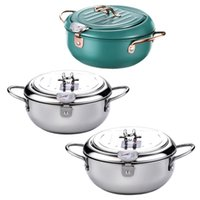 Pans Japanese Tempura Deep Frying Pot With Lid Stainless Steel Kitchen Fryer Pan Cookware 20cm 24cm