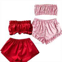 2pcs Pink Red Pajamas Womens Sleepwears Tube Top Shorts Set Sleeveless Satin Silk Pajama Cute Sleepwear Ladies Pjs Suit Para
