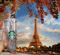 20 Free Starbucks أكواب 24 أوقية / 710 ملليلتر أكواب بلاستيكية قابلة لإعادة الاستخدام طبقة مزدوجة القهوة الشفافية شقة القش سترو غطاء بياني كوب دي إتش إل