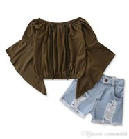 Children clothing summer girls set casual suit fashion solid color trumpet sleeve top + ripped denim shorts kids clothes